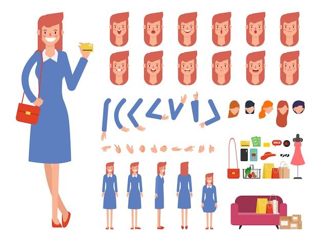 Vrouw winkelen karakter klaar voor animatie mond.