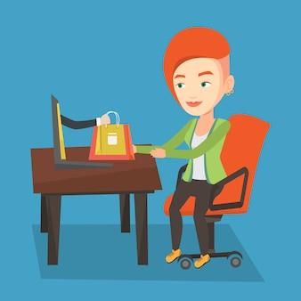 Vrouw winkelen online vectorillustratie.