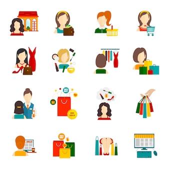 Vrouw winkelen pictogram plat