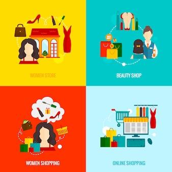Vrouw winkelen plat