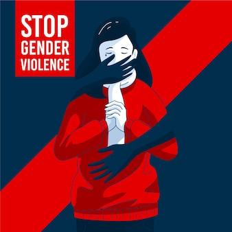 Vrouw wordt lastiggevallen in illustratie van gendergeweld