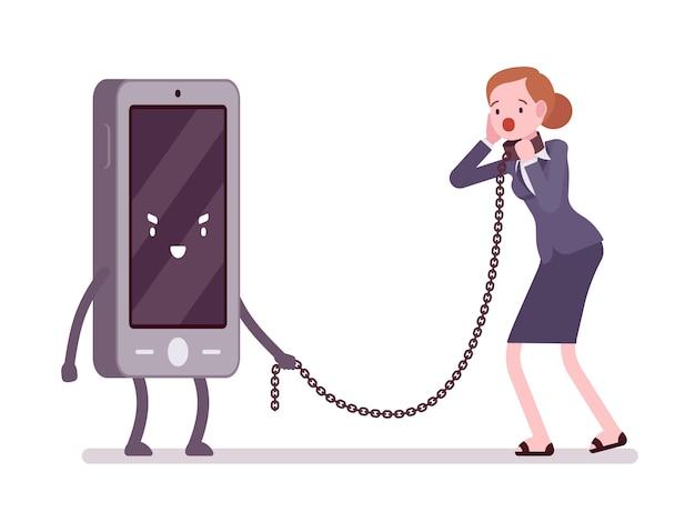 Vrouw wordt slaaf gemaakt door haar smartphone