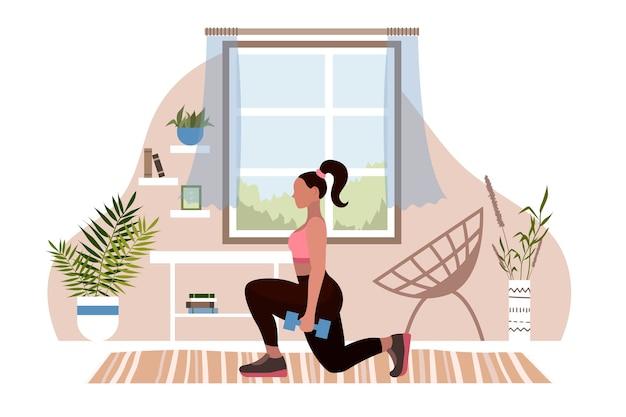 Vrouw yoga asana en handstand. thuis sporten. meisje bezig met fitness vlakke stijl