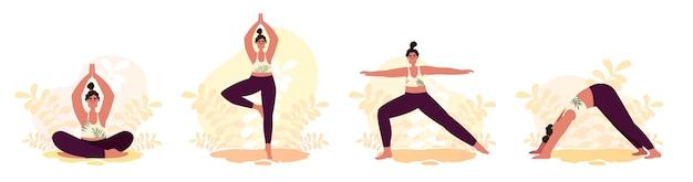 Vrouw yoga asana vector instellen. meisjes gaan sporten en fitness in de natuur.