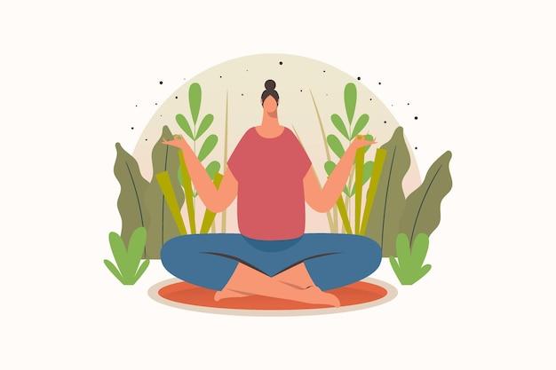 Vrouw yoga meditatie pose platte vectorillustratie
