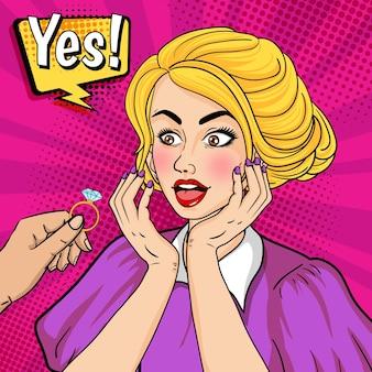 Vrouw zegt ja tegen huwelijksvoorstel met trouwring in retro stijl