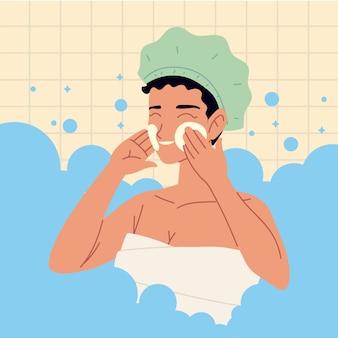 Vrouw zelf huidverzorging bubbels badkamer