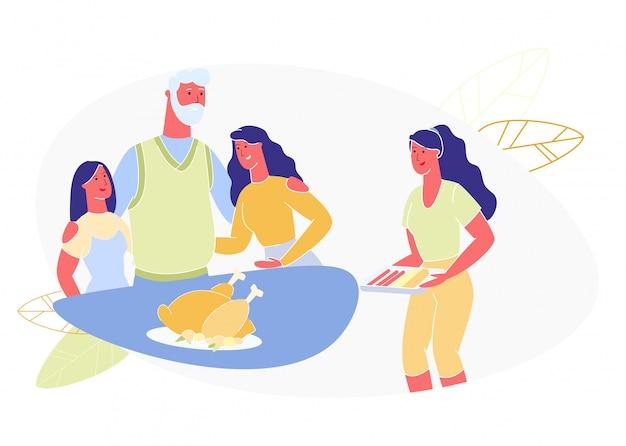 Vrouw zet eten op tafel voor familiediner. vector