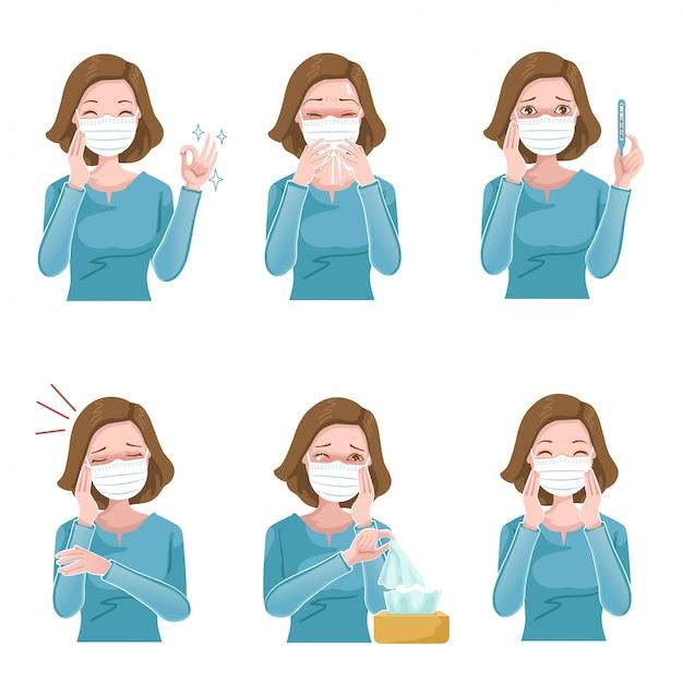 Vrouw ziek masker set. patiënt symptomen.