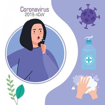 Vrouw ziek met covid19 set pictogrammen