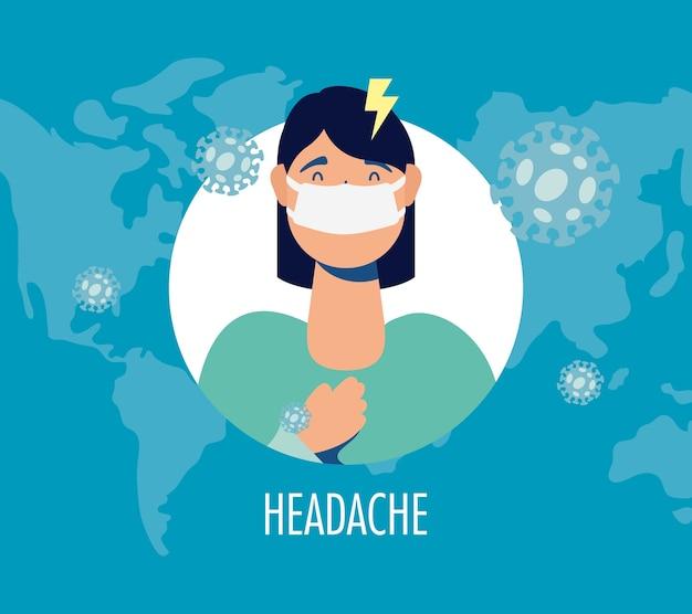 Vrouw ziek met hoofdpijn covid19 symptoom karakter