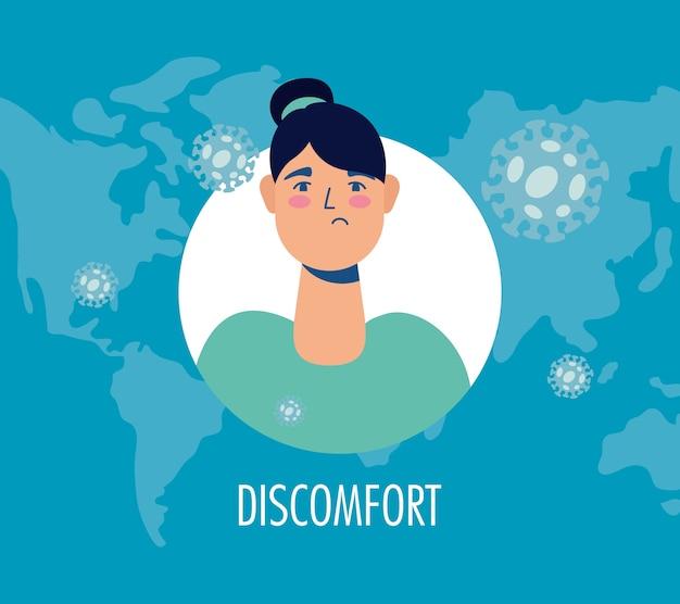 Vrouw ziek met ongemak covid19 symptoom karakter
