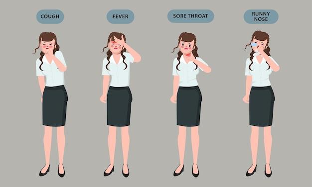 Vrouw ziek met ongemak symptoom karakter