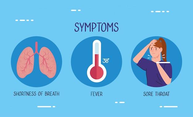 Vrouw ziek met thermometer en longen
