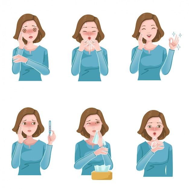 Vrouw ziek set. patiënt symptomen. hoesten, niezen, koorts, verstopte neus, hoofdpijn en piepende ademhaling. influenza