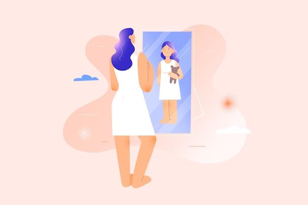 Vrouw ziet zichzelf als kindmeisje in spiegelreflectie