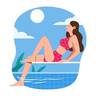 Vrouw zit op de springplank bij zwembad