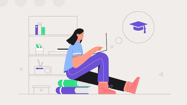 Vrouw zit op een stapel boeken en studeert online op een laptop