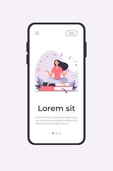 Vrouw zitten en mediteren op stapel boeken. student, studie, leren platte vectorillustratie. onderwijs en kennis concept mobiele app-sjabloon