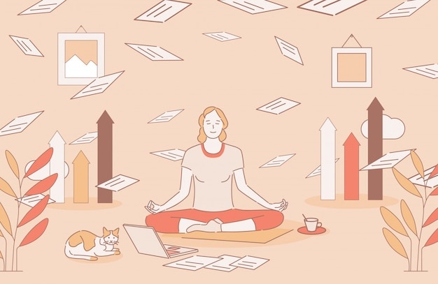 Vrouw zitten in lotus houding en mediteren tijdens deadline cartoon overzicht illustratie.