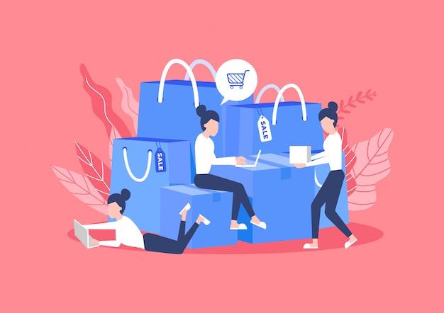 Vrouw zitten met een zak en een doos met goederen besteld bij online winkelen.
