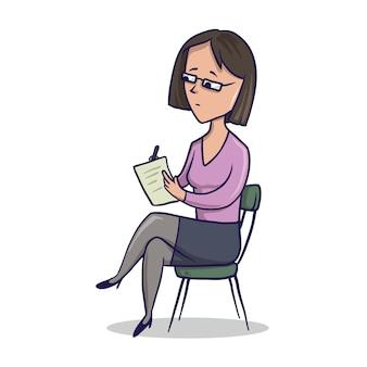 Vrouw zittend in een stoel en schrijft in een notitieblok. illustratie, op wit.