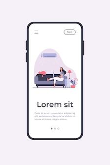 Vrouw zittend op de bank met kat en laptop onder airconditioner. meisje, koeling, bank plat vector illustratie. thuis en freelance concept mobiele app-sjabloon