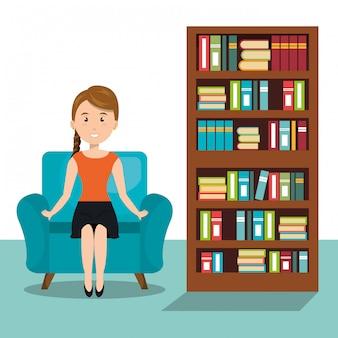 Vrouw zittend op de sofa pictogram