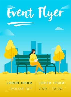 Vrouw zittend op een bankje en het lezen van boek flyer-sjabloon