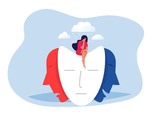 Vrouw zittend op maskers met blije of droevige uitdrukkingen, gespleten persoonlijkheid, stemmingswisselingen, bipolaire stoornis, vectorillustratie.