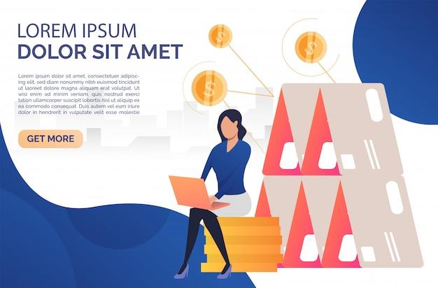 Vrouw zittend op rouleau webpagina