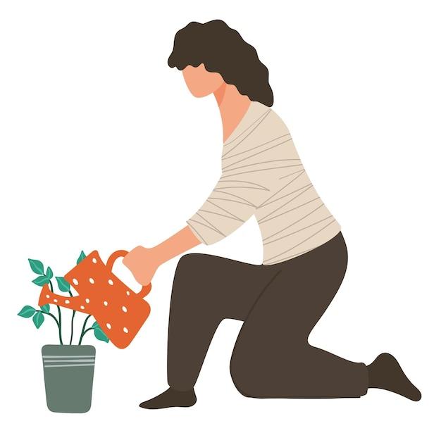 Vrouw zorgt voor groeiende plant, vrouwelijk karakter, bloem in pot water geven. bloemenwinkel of boer, hobby van dame. botanische biodiversiteit en zorg tuinbouw en natuur. vector in vlakke stijl