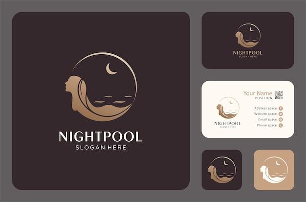 Vrouw zwemmen 's nachts logo ontwerp met sjabloon voor visitekaartjes.