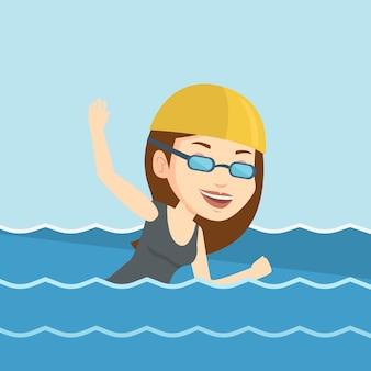 Vrouw zwemmen vectorillustratie.