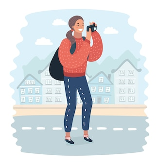 Vrouw zwerver is het nemen van foto op de camera van de mobiele telefoon van de grote stad new york, terwijl hij op een hoog dakgebouw staat.hipster meisje is video van het uitzicht op mobiele telefoon schieten tijdens reis in china