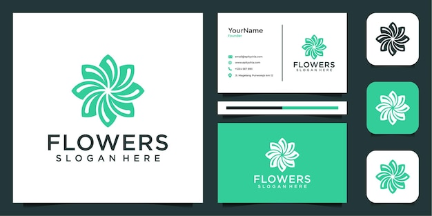 Vrouwelijk bloemlogo en visitekaartje-inspiratie