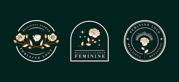Vrouwelijk bloemlogo-ontwerp