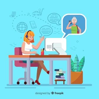 Vrouwelijk call center agentontwerp