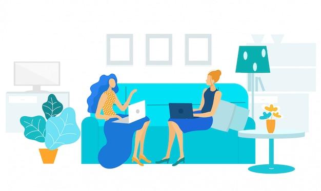 Vrouwelijk collega's gesprek