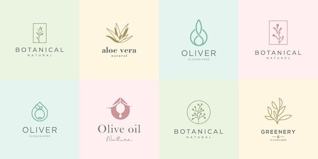 Vrouwelijk design logo collectie. elegante rozen, plantkunde, aloë vera, olijfolie, groen en natuur.