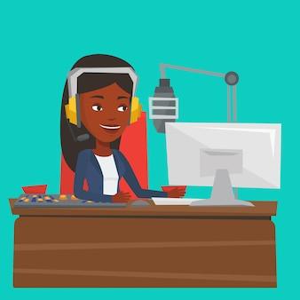 Vrouwelijk dj dat aan de radioillustratie werkt