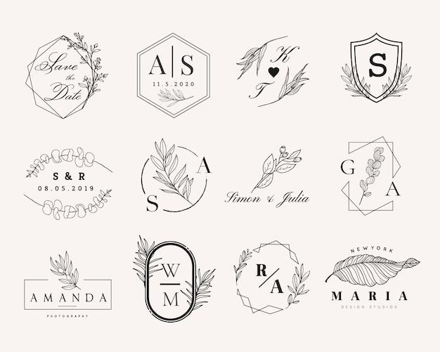 Vrouwelijk en bruiloft logo set