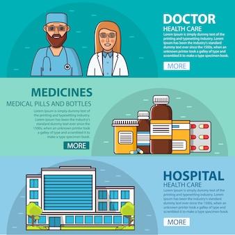 Vrouwelijk en mannelijk medisch personeel. arts en verpleegster. geneesmiddelenpillen en flessen .listers tabletten. capsules. ziekenhuisgebouw gezondheidszorg en apotheek
