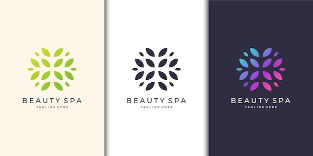 Vrouwelijk en schoonheidsspa. natuur, logo set