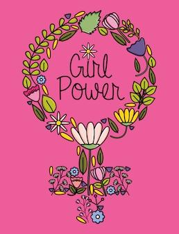 Vrouwelijk geslachtssymbool met de stijl van het bloemenpop-art