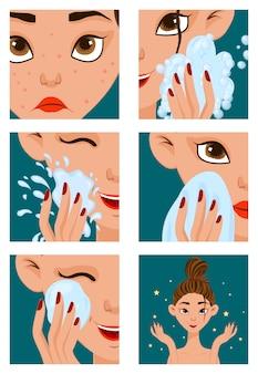 Vrouwelijk gezicht met acne genezen stappen.