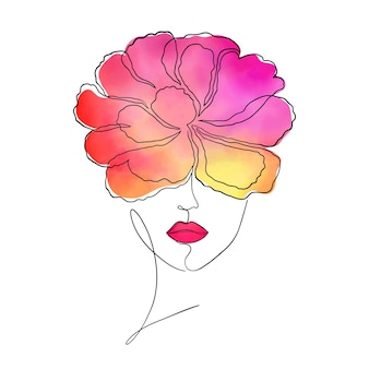 Vrouwelijk gezicht met waterverfpioenbloem op haar hoofd. moderne kunst.
