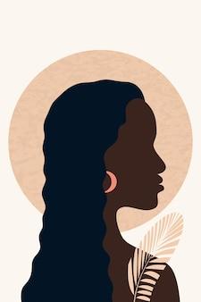 Vrouwelijk gezicht profiel minimalisme hand getekende afro-amerikaanse behang poster kamer interieur