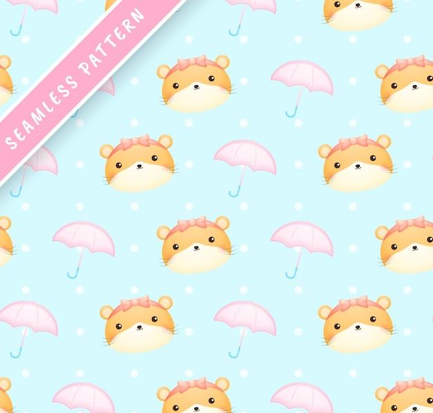 Vrouwelijk hamsterhoofd en paraplu naadloos patroon