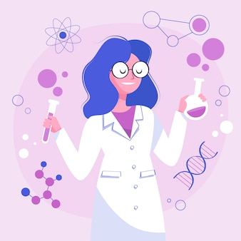 Vrouwelijk het laboratoriumglaswerk van de wetenschapperholding